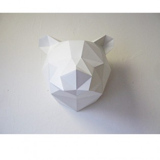 Kit de pliage papier trophée Ours blanc - Trophée assembli