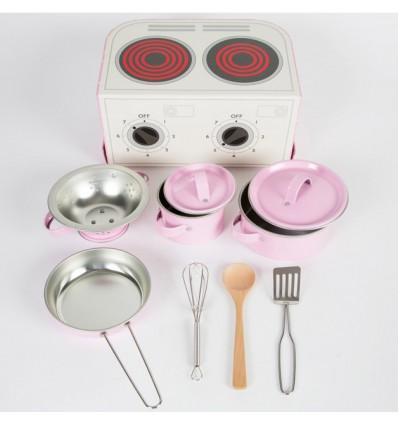 Dînette cuisinière en métal rose et sa valise