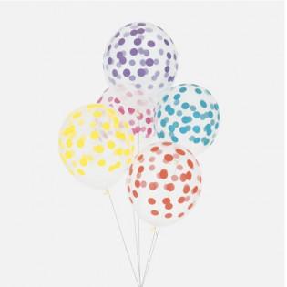 5 ballons confettis multicolore