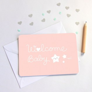 "Carte "" Welcome baby "" rose de Zü (ZU)"