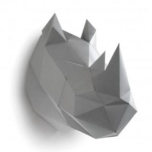Kit de pliage papier trophée Rhinocéros gris - Trophée papier assembli