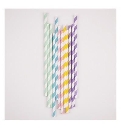 25 pailles rayures muticolore pastel