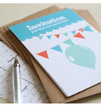 8 invitations Anniversaire (Rose) + enveloppes