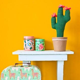 Grand Cactus en laine fleurs roses