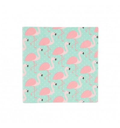 20 serviettes en papier flamants roses Rex
