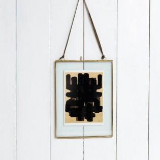 Cadre en verre à suspendre en laiton doré moyen 20 x 15 cm