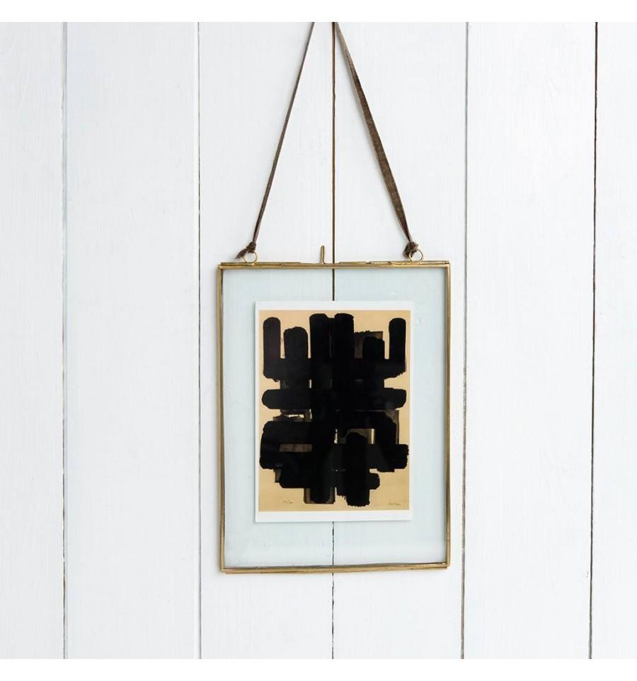 cadre en verre suspendre en laiton dor moyen 20 x 15 cm. Black Bedroom Furniture Sets. Home Design Ideas
