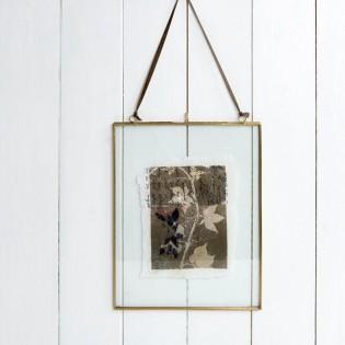 Grand cadre en verre et laiton 25 x 20 cm