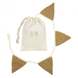 Guirlande fanions dorés en tricot - Meri meri