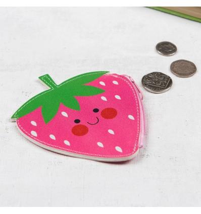 Porte monnaie fraise rose