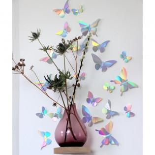Kit de pliage papier de 24 papillons Irisés rainbow - Assembli