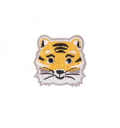 Broche brodée tigre