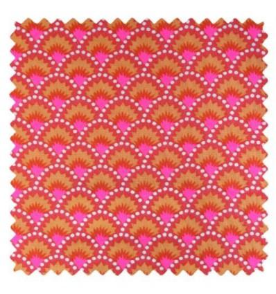 Tissu Petit pan wasabi rouge