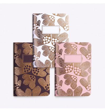 Set de 3 petits carnets Pavots- Editions du Paon