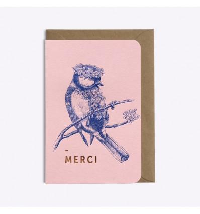 Carte Merci oiseau - Editions du Paon