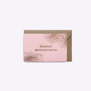 Mini carte Joyeux anniversaire rose - Editions du Paon