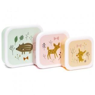 Set de 3 boîtes à goûter animaux de la forêt - Petit Monkey