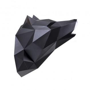 Kit de pliage papier trophée loup noir - Assembli