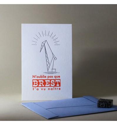 """Carte Letterpress """"N'oublie pas que Brest t'a vu naître"""""""