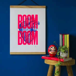 Sérigraphie Boom Boom Rose Fluo A3