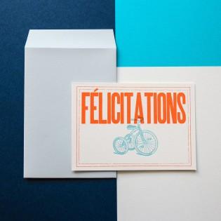 Carte Félicitations Letterpress Orange