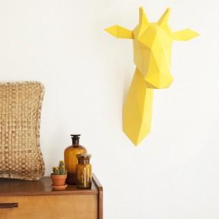 Kit de pliage papier trophée girafe jaune - Trophée assembli
