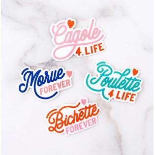 """Lot de 4 stickers """"Poulette, Bichette, Cagole, Morue"""" - Lolita Picco"""