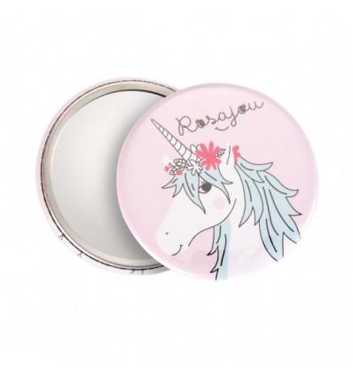 Miroir de poche Licorne - Rosajou