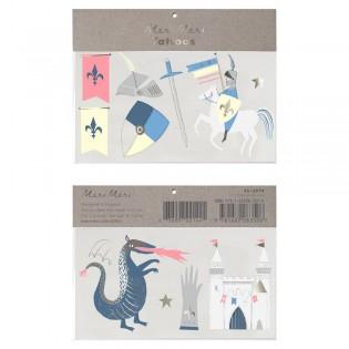 Tatouages éphémères Chevalier et dragon - Meri Meri