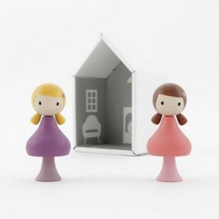 Figurines en bois magnétiques - Lucie & Maggie