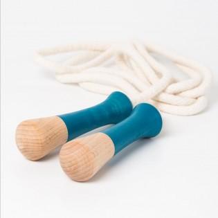 Corde à sauter bleue en bois - Me & Mine