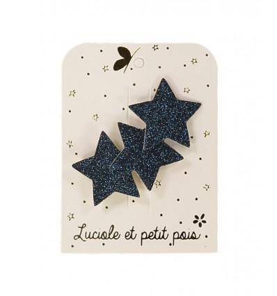 Barrette 3 étoiles bleues - Luciole et Petit Pois