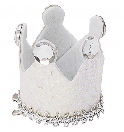 Barrette couronne blanc et argent - Rico Design