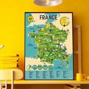 Poster & stickers Carte de France - Poppik