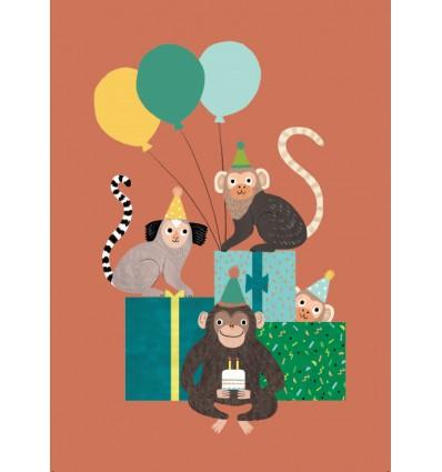 Carte Anniversaire Singes - Petit Monkey