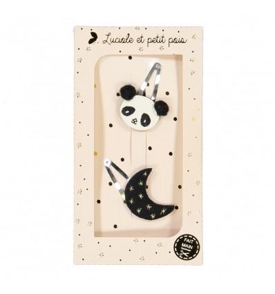 Coffret 2 barrettes Panda et Lune - Luciole et Petit Pois