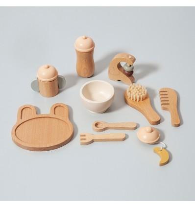 Set repas bébé en bois 10 pièces - Petit Monkey