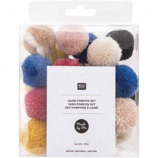 Set de pompons laine Nature - Rico Design