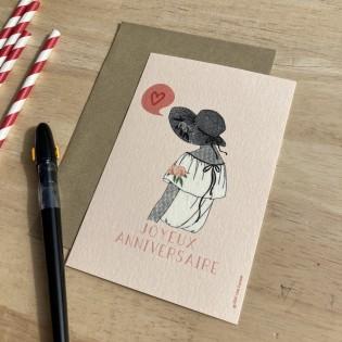 Carte Anniversaire Dame au Chapeau - Cité Candide