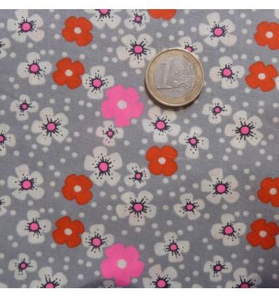 Tissu Petit pan Fleurs des îles gris