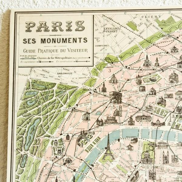 Très Carte vintage de paris - Poster carte de paris ancien GH84