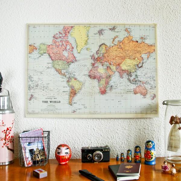 carte du monde ancienne r edition map monde vintage. Black Bedroom Furniture Sets. Home Design Ideas
