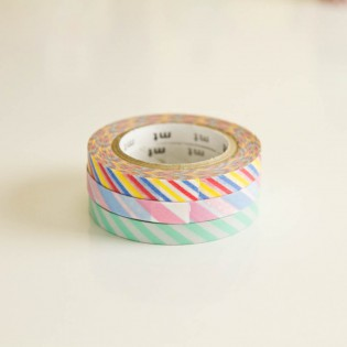 3 rouleaux fins de masking tape striés multi colors