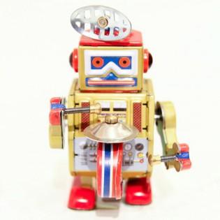 Robot Vintage tambour doré