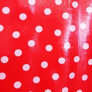 Toile cirée rouge pois blanc