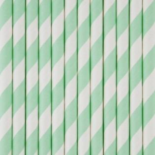 25 pailles en papier à rayures vert eau