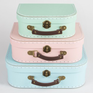 Set 3 valises en carton pastel