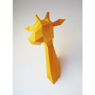 Kit de pliage papier trophée girafe jaune - Assembli
