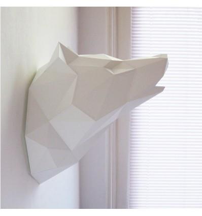 Kit de pliage papier trophée loup blanc - Assembli