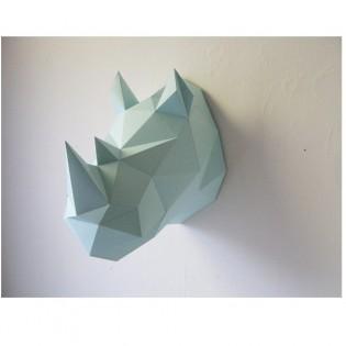 Kit de pliage papier trophée Rhinocéros mint - Trophée papier assembli